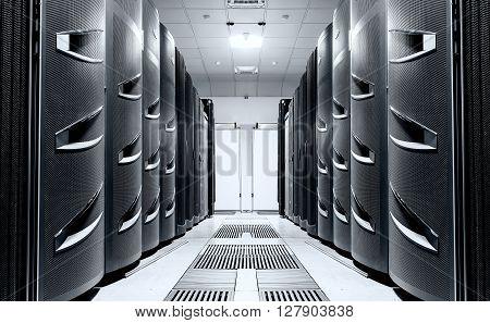 modern server room symmetry ranks supercomputers light toning
