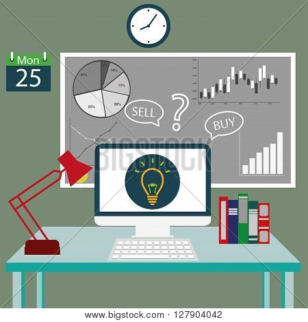Flat design stylish vector illustration of modern financial organization or business working in the office