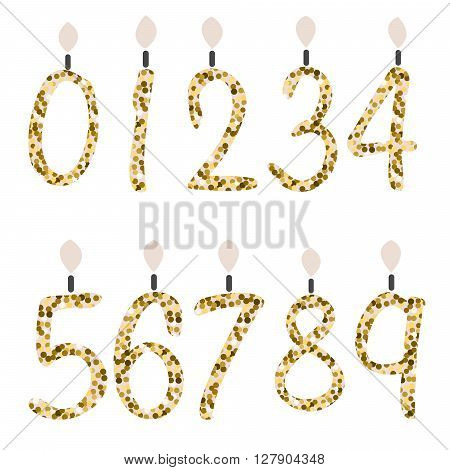 Birthday candles. Celebration number gold glitter candles. Girly fashion glam glitter digits for party decor.