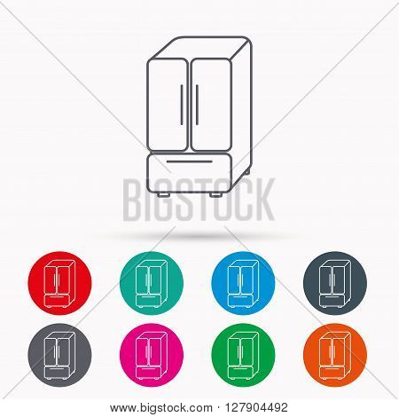 American fridge icon. Refrigerator sign. Linear icons in circles on white background.