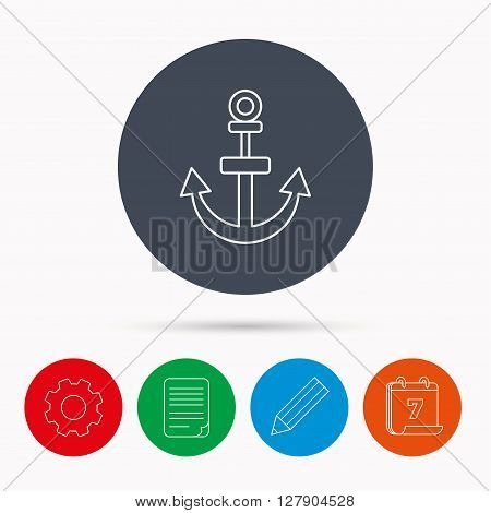 Anchor icon. Nautical drogue sign. Sea and sailing symbol. Calendar, cogwheel, document file and pencil icons.