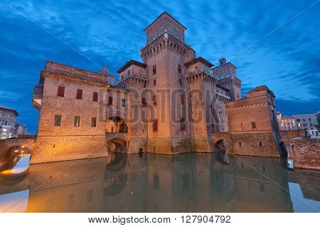 Castello Estense in the evening Ferrara Emilia-Romagna Italy