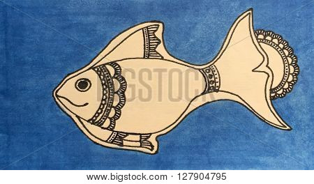 Hand-drawn doodle fish by ink pen on blue background