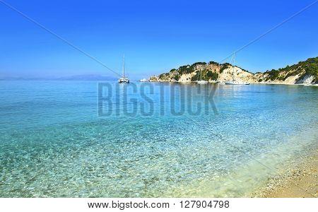 beach landscape at Ithaca Ionian islands Greece