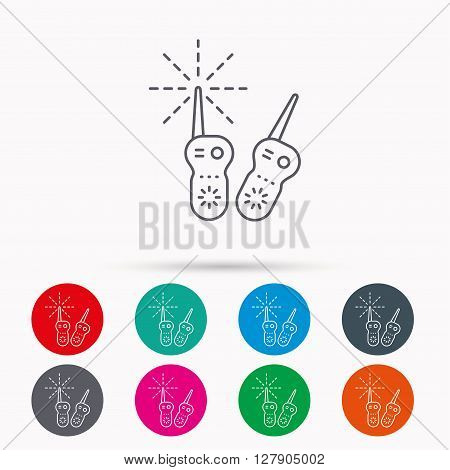Baby monitor icon. Nanny for newborn sign. Radio set symbol. Linear icons in circles on white background.