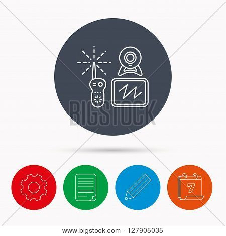 Baby monitor icon. Video nanny for newborn sign. Radio set with camera and tv symbol. Calendar, cogwheel, document file and pencil icons.