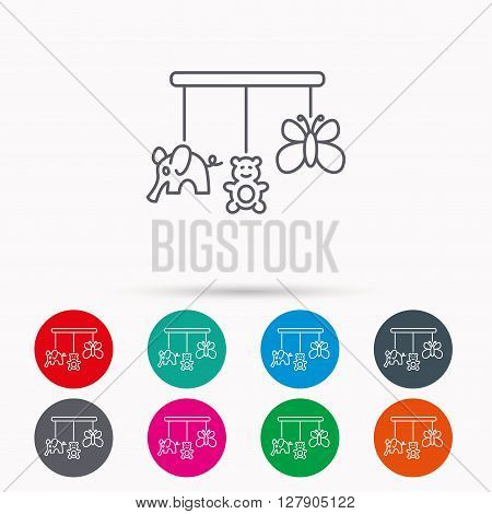 Baby toys icon. Butterfly, elephant and bear sign. Entertainment for newborn symbol. Linear icons in circles on white background.