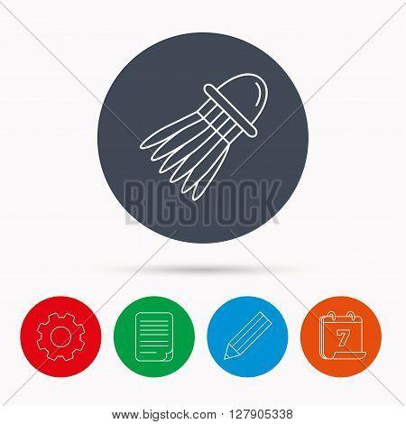 Shuttlecock icon. Badminton sport equipment sign. Speedminton symbol. Calendar, cogwheel, document file and pencil icons.