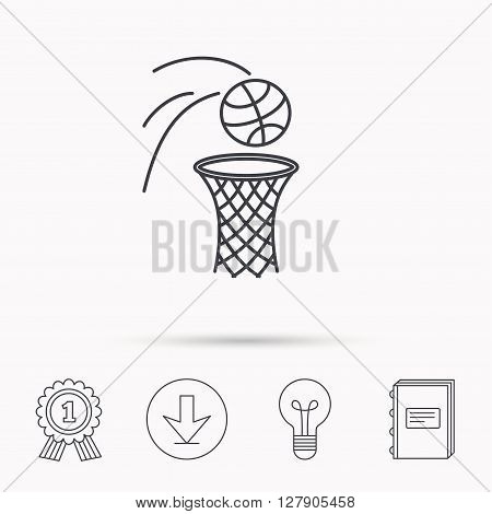 Basketball icon. Basket with ball sign. Professional sport equipment symbol. Download arrow, lamp, learn book and award medal icons.