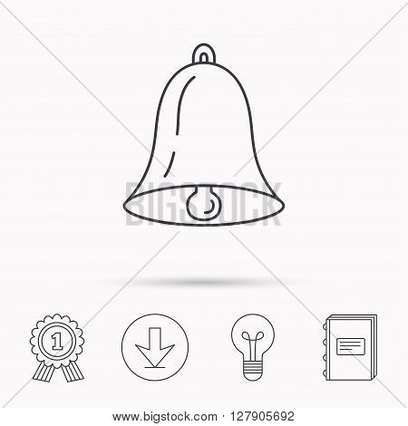 Bell icon. Sound sign. Alarm handbell symbol. Download arrow, lamp, learn book and award medal icons.