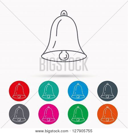 Bell icon. Sound sign. Alarm handbell symbol. Linear icons in circles on white background.