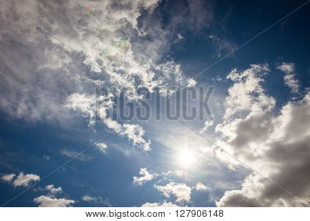 Wide atmospheric sky with clouds as background texture