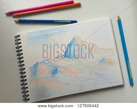 Himalaya mountains color pencil sketch, travel sketch with blue and orange mountains
