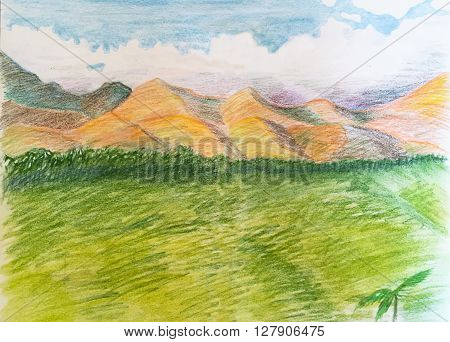 Hand-drawn tropical landscape, pencils landscape with clouds, mountains and the green valley