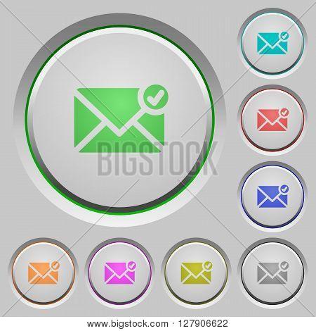 Set of color mail sent sunk push buttons.
