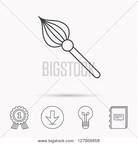 Brush icon. Paintbrush tool sign. Artist instrument symbol. Download arrow, lamp, learn book and award medal icons.
