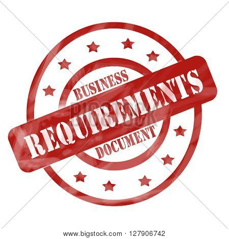 Red Weathered Business Requirements Document Stamp Circles And Stars