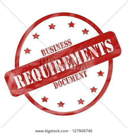 Red Weathered Business Requirements Document Stamp Circle And Stars