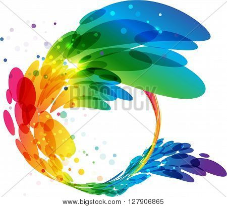 Abstract colorful circle frame, vector background, rainbow border