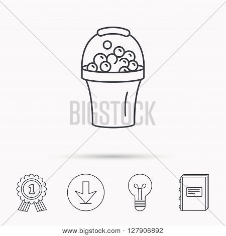 Bucket with foam icon. Soapy cleaning sign. Download arrow, lamp, learn book and award medal icons.