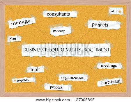Business Requirements Document Corkboard Word Concept