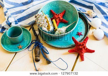 Rustic Marine Table Setting