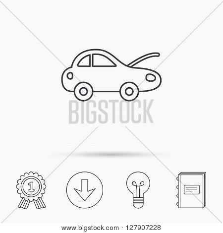 Car repair icon. Mechanic service sign. Download arrow, lamp, learn book and award medal icons.