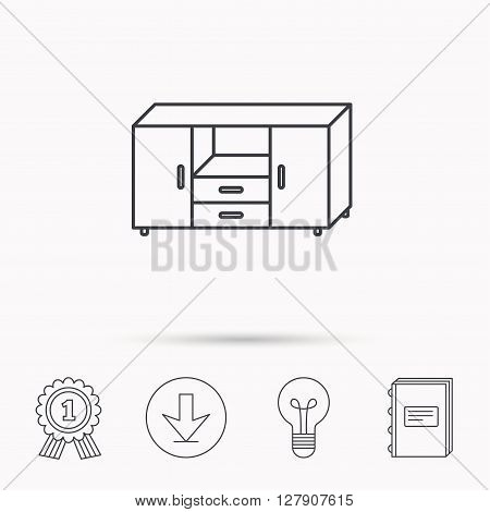 Chest of drawers icon. Interior commode sign. Download arrow, lamp, learn book and award medal icons.