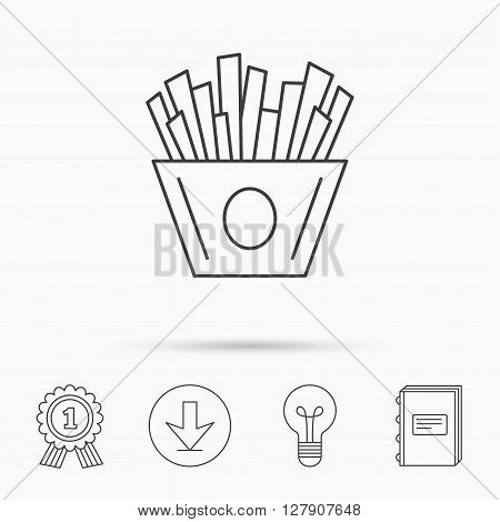 Chips icon. Fries fast food sign. Fried potatoes symbol. Download arrow, lamp, learn book and award medal icons.