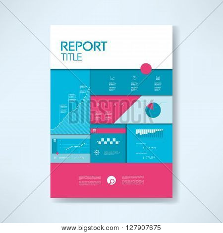 Annual report cover template with business icons and elements. Pie chart, graphs, infographics layout. Eps10 vector, illustration.