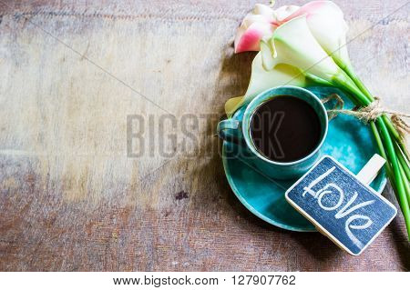 Coffee And Calla Flowers