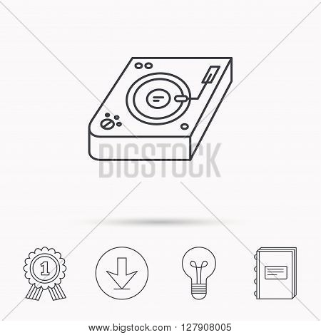 Club music icon. DJ track mixer sign. Vinyl mixing symbol. Download arrow, lamp, learn book and award medal icons.