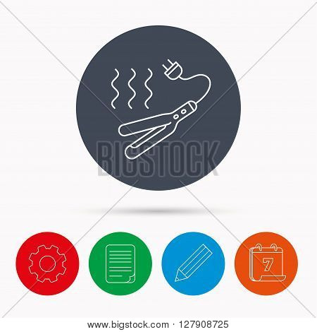 Curling iron icon. Hairstyle electric tool sign. Calendar, cogwheel, document file and pencil icons.