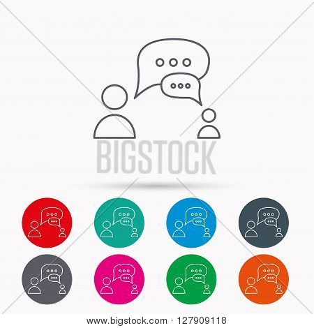 Dialog icon. Chat speech bubbles sign. Discussion messages symbol. Linear icons in circles on white background.