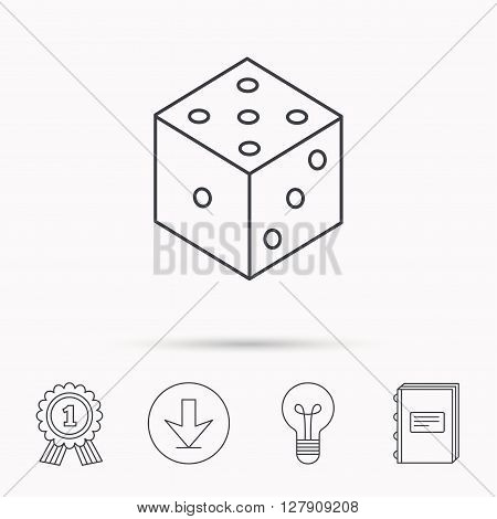 Dice icon. Casino gaming tool sign. Winner bet symbol. Download arrow, lamp, learn book and award medal icons.