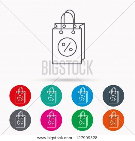 Shopping bag icon. Sale and discounts sign. Supermarket handbag symbol. Linear icons in circles on white background.