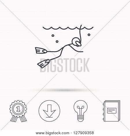 Diving icon. Swimming underwater with tube sign. Scuba diving symbol. Download arrow, lamp, learn book and award medal icons.