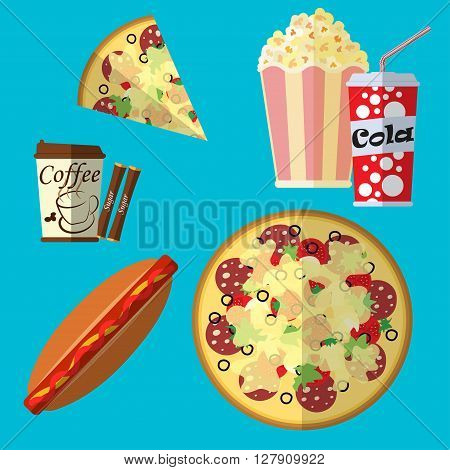 Fast food icons set cola or soda icon popcorn and hot dog icon paper cup of coffee and pizza icons flat design fast food icons set on blue background vector