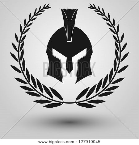 Spartan Helmet full face silhouettes with laurel wreath symbol of gladiator soldier or greek warrior or roman legionary helmet hero sign vector