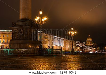 View of St. Isaac's Cathedral from Palace Square. Night Photography. On the left can be seen the base of Alexander Column.