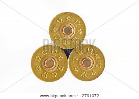 Three cartridges of 12th caliber for a hunting rifle