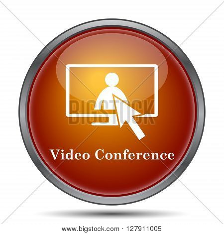 Video conference online meeting icon. Orange internet button on white background.