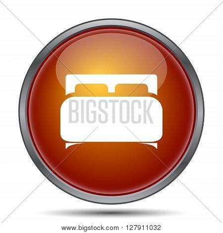 Double bed icon. Orange internet button on white background.