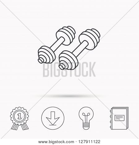 Dumbbell icon. Fitness sport or gym sign. Bodybuilding workout equipment symbol. Download arrow, lamp, learn book and award medal icons.