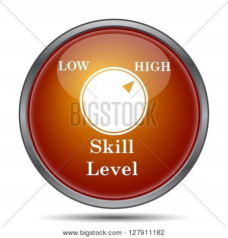 Skill level icon. Orange internet button on white background.