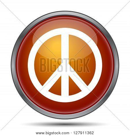 Peace icon. Orange internet button on white background.