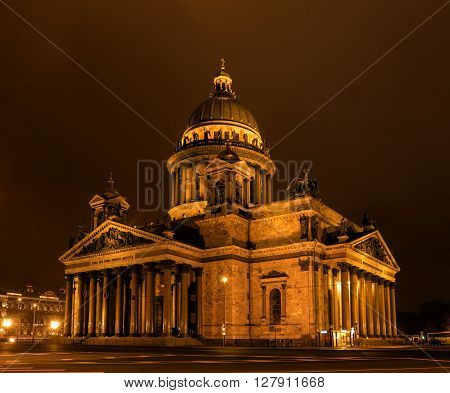 St Isaac Cathedral in Petersburg. Night Photography. View from the Hotel Angleterre.