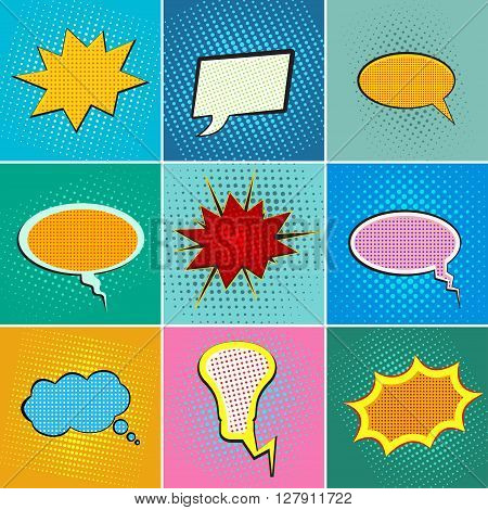 Pop art speech bubbles, comic book speech bubbles set, colorful speech bubbles on a dots pattern backgrounds in pop-art style, blank comic book speech bubbles in pop-art retro style, vector