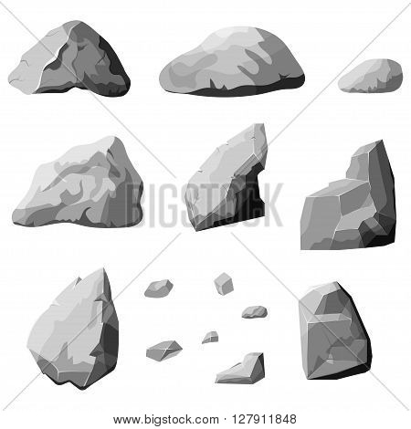 Set of stones, rock elements different shapes and shades of gray, cartoon style boulders set, flat design, isometric stones on white background, vector