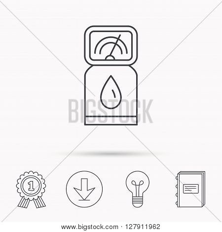 Gas station icon. Petrol fuel pump sign. Download arrow, lamp, learn book and award medal icons.